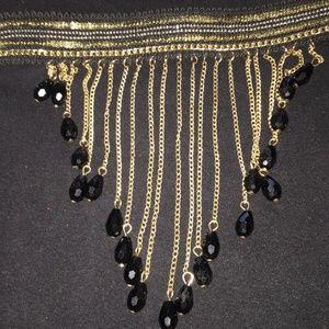 BLACK AND GOLD GODDESS CHOKER 12'-16'